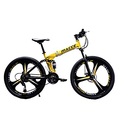 SU&YU Folding Mountain Bike, 24/26Inch Lightweight 21 Speed Outroad Bicycle Full Suspension MTB Bikes with Shifter (26in_Yellow)