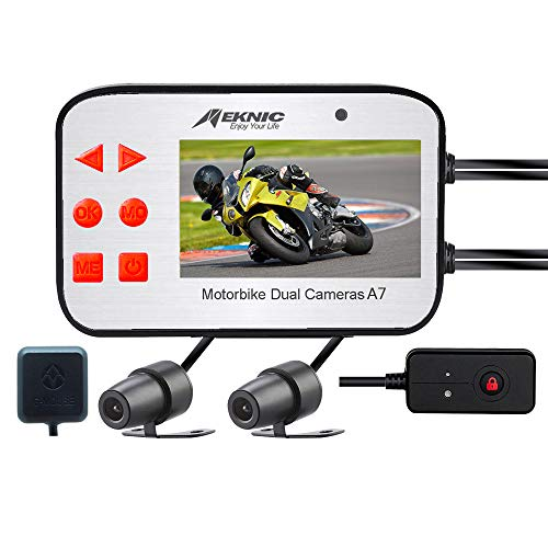"MEKNIC Motorcycle Camera Dual Lens 1080P Motorcycle Dash Cam, Front and Rear with 2.7"" LCD Screen..."