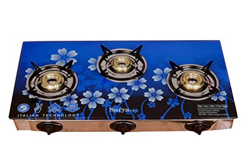 Online Surya Fast Piezo Auto Ignition Heavy Brass Coated Iron Burner, 3 Burner Gas Stove - Blue Flame - Toughened Glass Cook Top