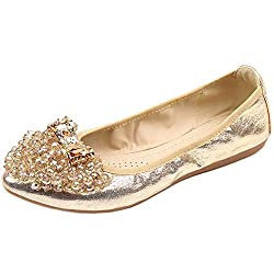 Gold Foldable Ballet Flat Shoes Butterfly Rhinestone Slip