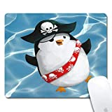 Pirate Penguin Mouse Pad Ergonomic Rectangle Extended Gaming Mouse Pad for Computers Black