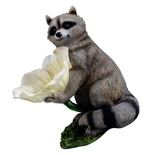Yardwe Resin Raccoon Bird Feeder Ornament Garden Outdoor Animal Raccoon Flower Figurine Bird Feeder Statue Yard Decoration (Grey)