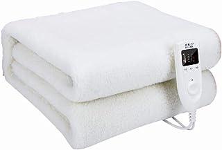 YUXINCAI Mantas Eléctricas, Termostato De Doble Control, Seguridad, Almohadilla Calefactora Inteligente, Engrosable Y Temporizada,White180*160cm