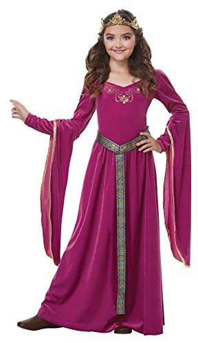 California Costumes Queen, Royalty, Renaissance, Medieval Princess Girls Costume, Berry, Large 10-12