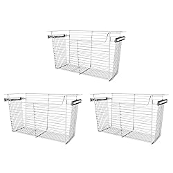 silver pull out organizing basket to install in pantry or cabinet