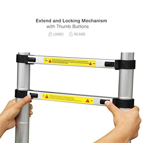 GreenWise 10.5 Ft Portable Aluminum Telescoping Extension Ladder, EN131 Standard, 330lbs Capacity