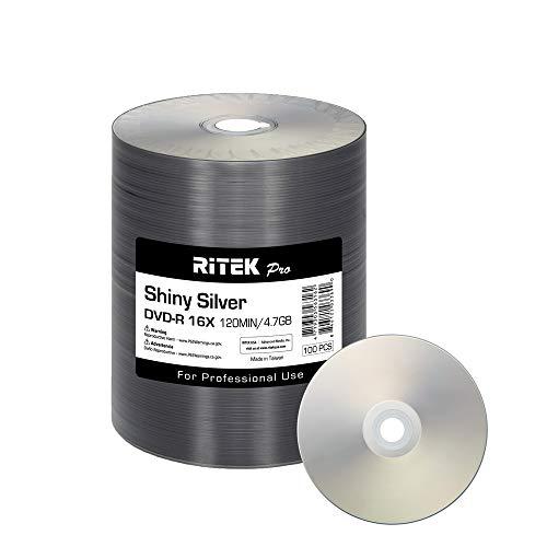 100 Pack Ritek Pro (Professional Grade) DVD-R 16X 4.7GB AZO Dye (MID MXL RG04) Shiny Silver Lacquer Silk Screen Printable Blank Media Recordable Disc