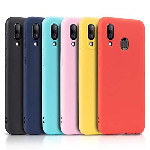 Wanxideng - 6X Cover per Samsung Galaxy A40, Custodia Morbido Opaco in Silicone TPU - Matt Silicone Case [ Nero + Rosso + Blu Scuro + Rosa + Verde Menta +...
