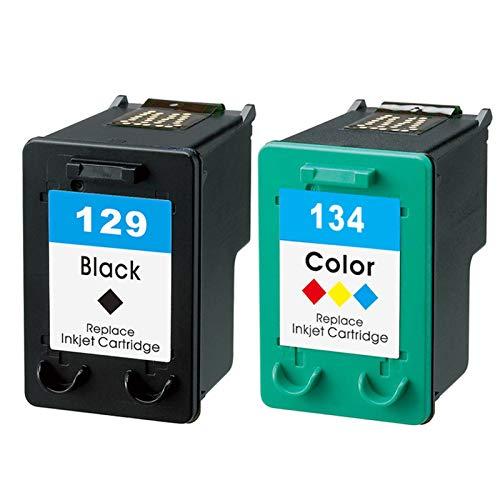Cartucho de tinta compatible 129XL 134XL, adecuado para HP 5943 6310 6313 6315 6318 Impresora de inyección de tinta Cartucho de tinta de reemplazo de gran capacidad