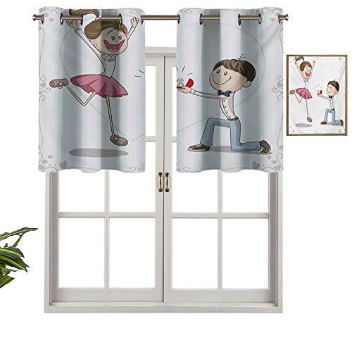 Hiiiman Grommet Top Blackout Curtain Valance Window Treatment Celebration Cartoon of Love Valentines Couple with Wedding Ring, Set of 2, 54'x24' for Living Room, Short Straight Drape Valance