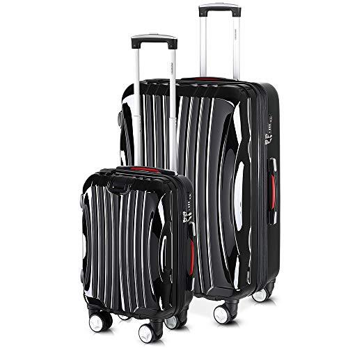 monzana® 2er Set Koffer Boardcase M, XL Gelgriffe TSA USB Reisekoffer Trolley Kofferset Handgepäck