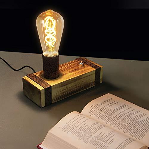 GBLY Lámpara de mesa vintage Lámpara de noche retro de madera E27 Lámpara de escritorio industrial 20CM Lámpara de noche con enchufe para estudio de la sala de estar del dormitorio, sin bombillas