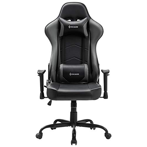 VON RACER Massage Gaming Chair Racing Computer Desk Office Chair Swivel Ergonomic Executive Bonded Leather Chair with Headrest Lumbar Support and Adjustable Armrests