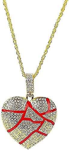 Collar Corazón roto Collar Collares pendientes Mujeres Hombres Joyería de hip hop Color dorado Cadena helada Collar de diamantes de imitación Collar de regalo Regalo para mujeres Regalos