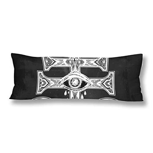 CiCiDi - Funda de Almohada (50 x 150 cm), diseño de Cruz satánica, algodón Suave, Lavable a máquina con Cremalleras, Color Blanco y Negro