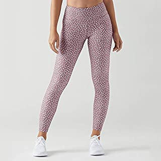 Jinqiuyuan Women Fitness Yoga Pants Slim High Waist Sport Leggings Gym Leggings Elastic Dot Print Long Tights for Running Tummy Control (Color : Pink, Size : M)