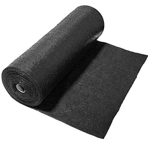 June Fox 5oz Pro Garden Weed Barrier Landscape Fabric, Heavy Duty Weed Block Gardening Mat,Garden Landscape Fabric for Flower Bed, Edging, Pavers,Vegetable Patch,Garden Stakes,Black (1.3ft x 82ft)