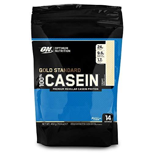 Optimum Nutrition 100% Gold Standard Casein, Proteínas en Polvo con BCAA Aminoacidos Ramificados y Esenciales, para recuperación, bajo en Azúcar, Vainilla, 14 porciones, 450 g