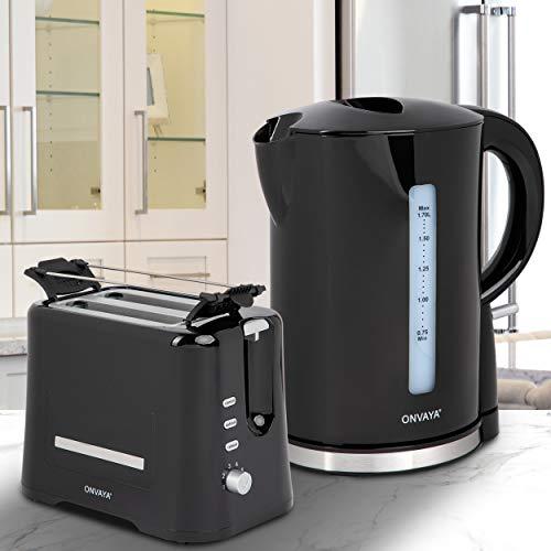 ONVAYA® Frühstücksset | Toaster Wasserkocher Set | Frühstücksserie | Schwarz | Toaster für 2 Scheiben | Wasserkocher 1,7 Liter (Frühstücksset 2-teilig | Toaster Wasserkocher)