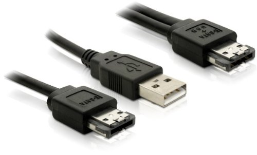 DELOCK Power Over eSATA Y- Kabel > USB und eSATA Stecker 1m