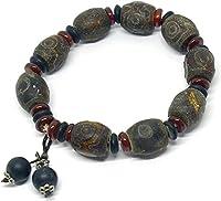 Feng Shui Reichtum Armband Damen-modische tibetische Dzi-Perle-Wulst geheimnisvolle buddhistische Armband (schützendes Amulettarmband für positive spirituelle Vorteile) neun drei Augenperlen mit hänge