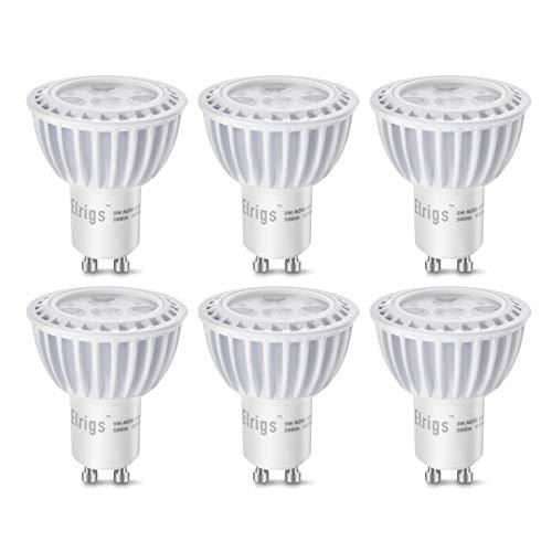 Elrigs GU10 dimmbare LED Lampe, 5W Reflektor, ersetzt 50W Halogen, Kaltweiß(6000 Kelvin), 500 Lumen, 6er Pack