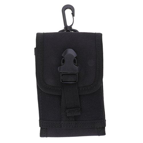 Sharplace Poche de Ceinture Sac de Taille Sac Mobile Tactique Compact avec Boucle - 15x10 cm - Noir, 15x10 cm