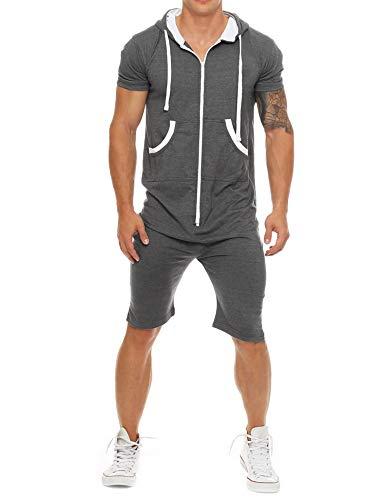 Coshow Herren Overall Jumpsuit Jogging Anzug Sportanzug Onesie Trainingsanzug Fitness Shirt Hosen kurz S-XXL