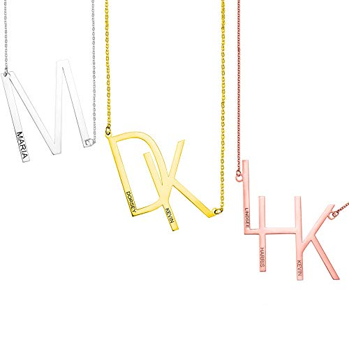 Personalized Sideways Initial Necklace,Stainless Steel Personalized Alphabet A-Z Dainty Pendants Minimalism Jewelry for Women Girls, Love Gifts for Her (Send Gift Box)