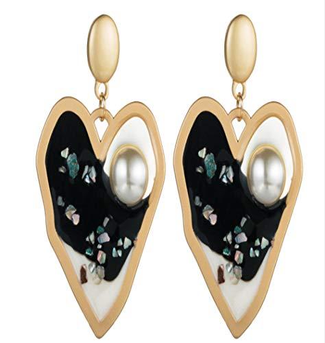 Pendientes de perlas con incrustaciones de resina en forma de corazón irregular de aleación de moda europea y americana Pendientes de botón de temperamento retro de moda-Negro