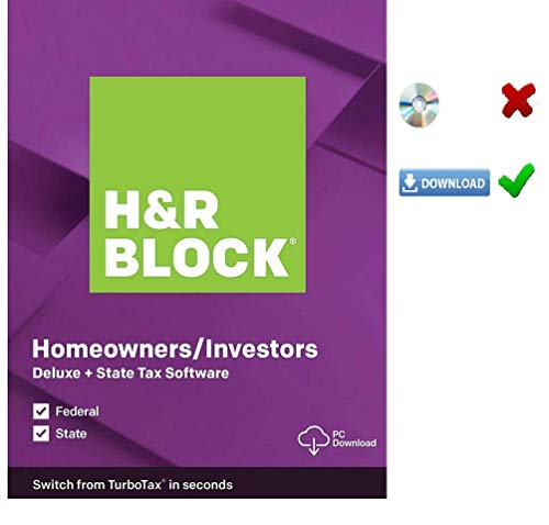 HR Block Deluxe 2019 Tax Software HOMEOWNERS/INVESTORS | 5 Fed E-File + State| [PC/MAC D0WNL0AD+CODE ONLY: Not CD]