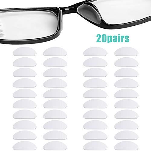 20 Pares Almohadillas de Nariz para Gafas Silicona, Antideslizantes Almohadillas Nasales Adhesivas para Pegar en Gafas Anteojos y Gafas de Sol, Transparente