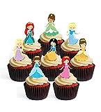 Decoración comestible para cupcakes con diseño de princesas (paquete de 24)