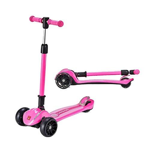 BalanceBikes Kinder Scooter Folding Roller 3 Runden Kinder Yo Auto Männer und Frauen Baby-Dreirad Skates 3-6-8-10 Jahre alt (Farbe: Pink, Größe: 67.5 * 29 * 77cm)