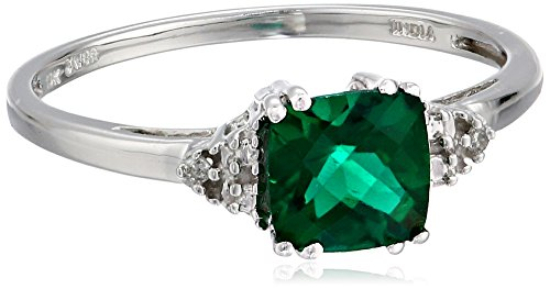 Hot Sale 10k White Gold May Birthstone Created Emerald and Diamond Ring, Size 7