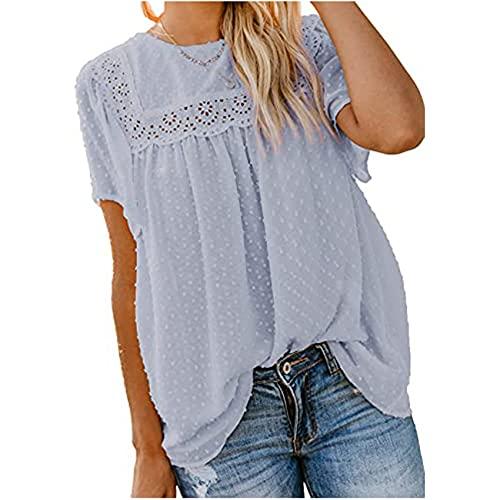 Sommer Damen Rundhalsausschnitt Spitze HäKelbommel Kurzarm Shirt Top