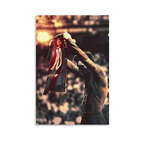 CHAOZHE Póster de deportistas de fútbol Messi Jersey King of Barcelona, cuadro decorativo lienzo para pared, sala de estar, dormitorio, 50 x 75 cm