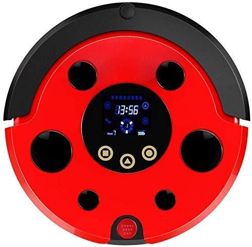 RVTYR Limpieza del Robot Robot Aspirador Inteligente SweepWet fregona Navegación Planificación de Limpieza Cubo de Basura del Tanque de Agua Ajustable Horario del hogar, (Color : Red)