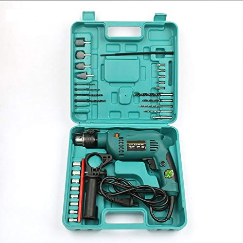 32pcs Taladro mutilfunction impacto eléctrica con EXTRA Herramientas Caja de herramientas Kit de alimentación 220V 50Hz 1680W con la caja de herramientas de color naranja (Color : 1)