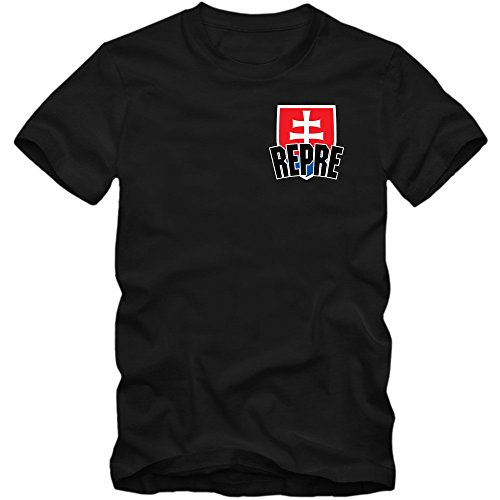 Slowakei WM 2018#5 T-Shirt | Fußball | Herren | Trikot | Repre | Nationalmannschaft, Farbe:Schwarz (Deep Black L190);Größe:M