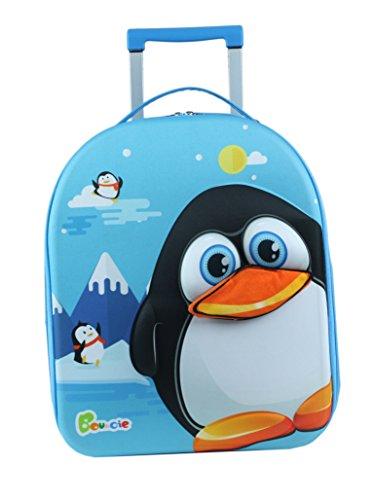 Bouncie Kinder-Trolley mit 3D-Pinguin-Motiv, Kinder-Reisekoffer, Kindergepäck, 40 cm groß, Blau