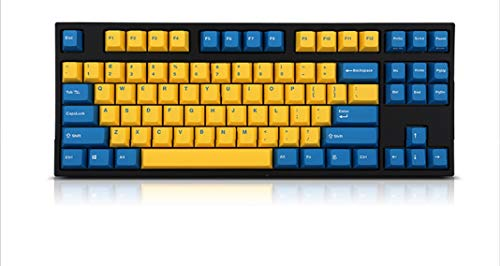 Leopold FC750R PD Mechanical Keyboard with Cherry MX Silent Red Switch (Black Case, Yellow/BluePBT Doubleshot Keycaps, 87 Keys)