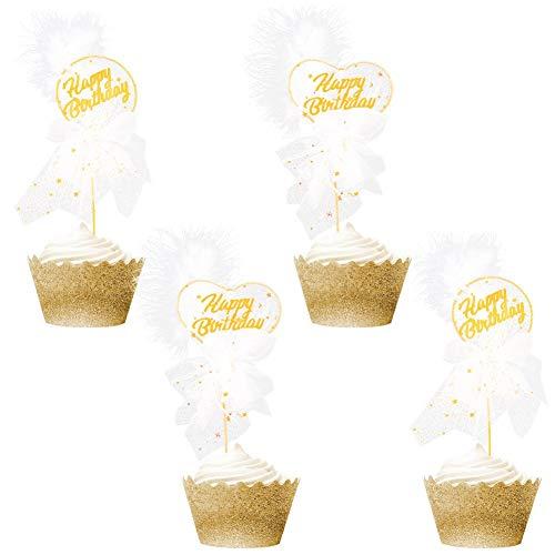 FANDE 4 Stück Kuchen Topper, Cake Toppers Birthday, Glitter Cake Topper, Happy Birthday Tortendeko Tortenaufsatz Kuchendeckel für Geburtstag Party Dekoration (Gold)