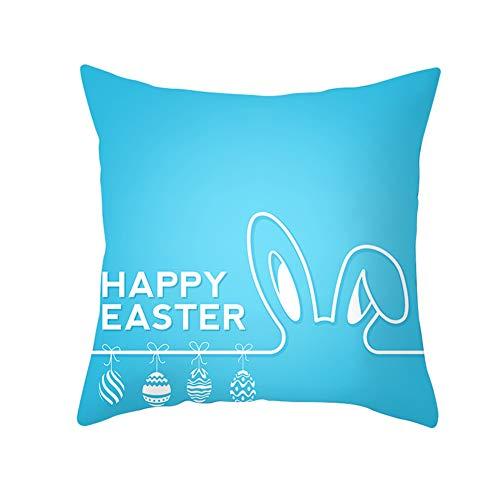 JujubeZAO Funda de Almohada/Funda de Almohada Colorida de Conejo de Pascua Huevo Funda de cojín para Cama, Coche, cafetería, Oficina, decoración para el hogar