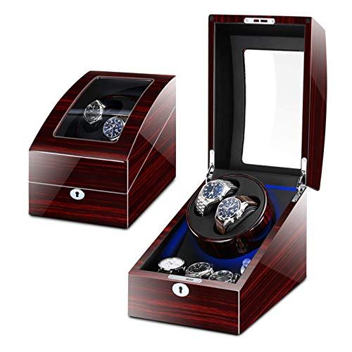 ユニバーサルプロフェッショナル自動2+ 3時計ワインダーボックス、静かなモーター付きピアノ塗装、女性用および男性用時計に適合ACアダプターまたは電池式収納陳列ケース