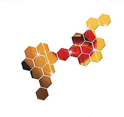 IEason Wall Stickers 12Pcs 3D Mirror Hexagon Vinyl Removable Wall Sticker Decal Home Decor Art DIY (Gold)