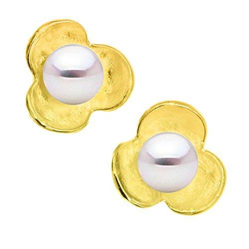 Pendientes de Niña o Mujer de Plata de Ley de 925 Milésimas Bañada en Oro de 18 k en forma de flor SECRET & YOU - Perla cultivada de agua dulce de 4,5 a 5 mm color natural