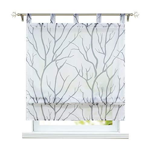 ESLIR Raffrollo mit Schlaufen Gardinen Küche Raffgardinen Transparent Schlaufenrollo Modern Vorhänge Weiß-Grau BxH 120x140cm 1 Stück