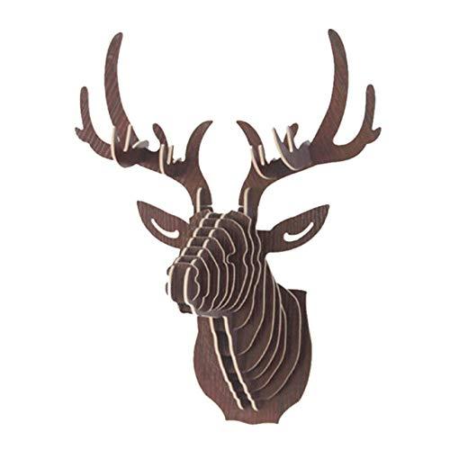 Moda 3D Animal de madera Cabeza de ciervo Modelo de arte Oficina en casa Colgante de pared Decoración Soportes de almacenamiento Estantes Artesanía de regaloDecoración para el hogar, 1, China