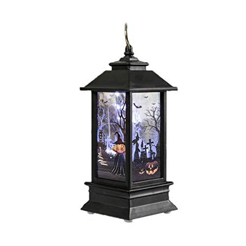 Mmnas Halloween Hängendes Windlicht, Weinlese Kürbis LED Gemalte Lampe, Tragbare Flammen-Laternen-Partei-Versorgungsmaterialien